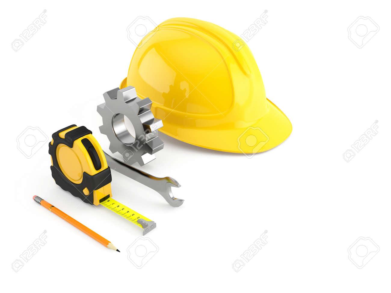c9fd366c9 Conjunto de herramientas de construcción y de ingeniería. casco amarillo,  llave, engranaje, la ruleta, el lápiz aislado en el fondo blanco. ...