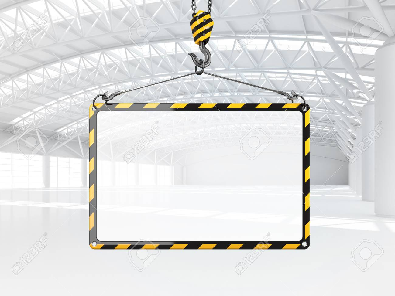 Abstract Empty White Warehouse Interior With Empty Frame Hanging ...