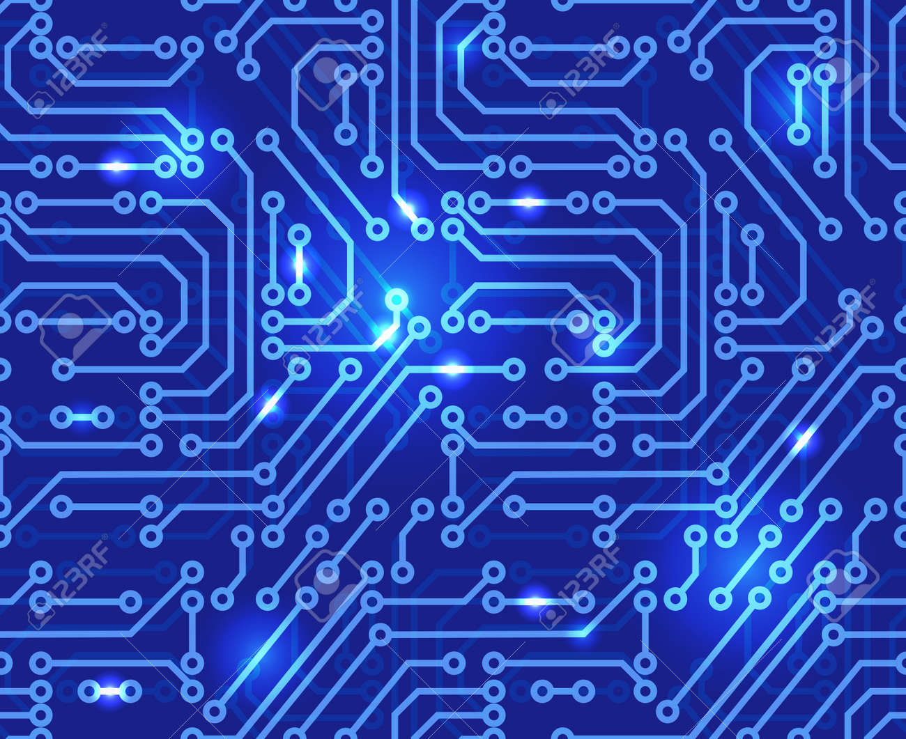 Circuit board background illustration of abstract motherboard. Seamless pattern. - 57403027