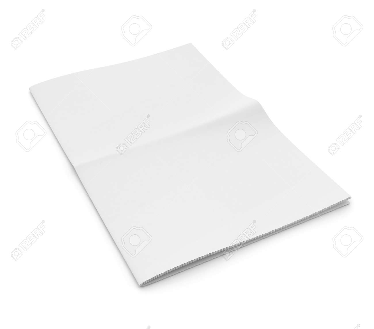 Blank Newspaper On White Background Template For Publishing Stock