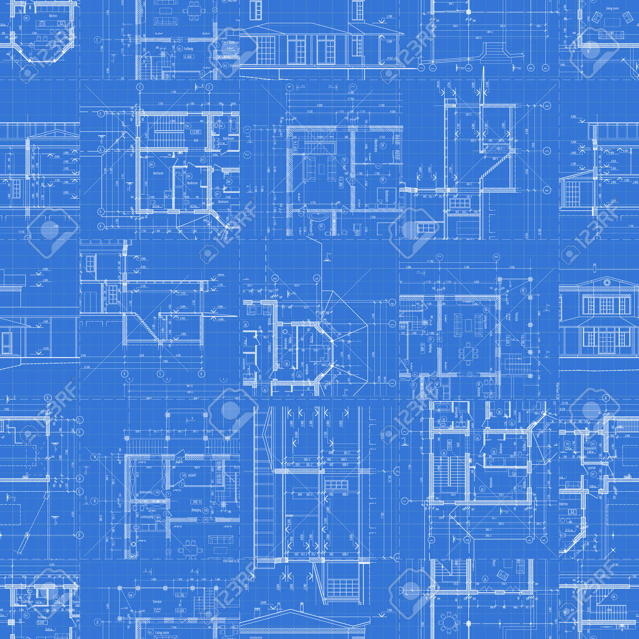 Architectural blueprints set of technical drawings on blue architectural blueprints set of technical drawings on blue background seamless pattern vector illustration malvernweather Gallery