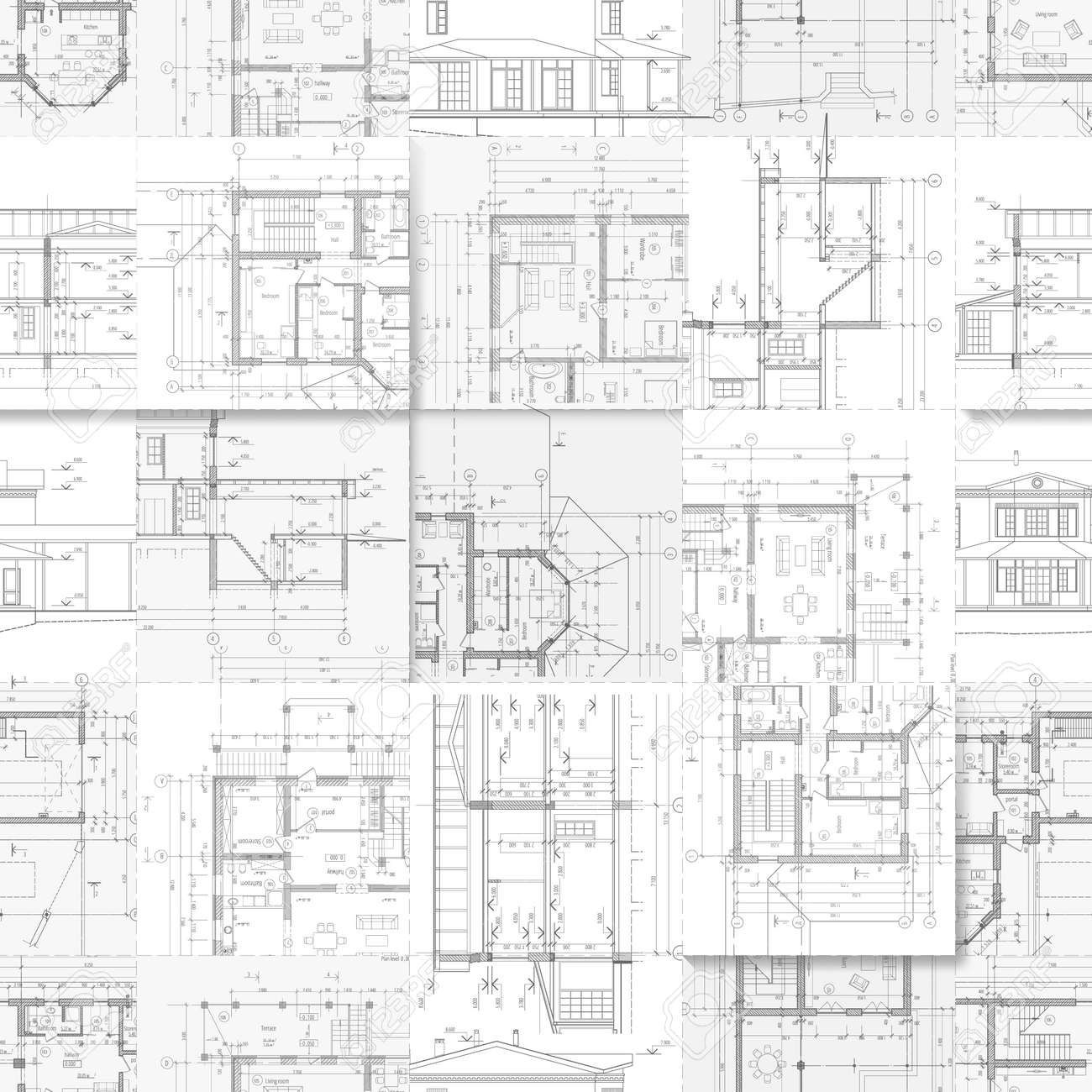 Architectural Drawings A Set Of Facades And Building Plans