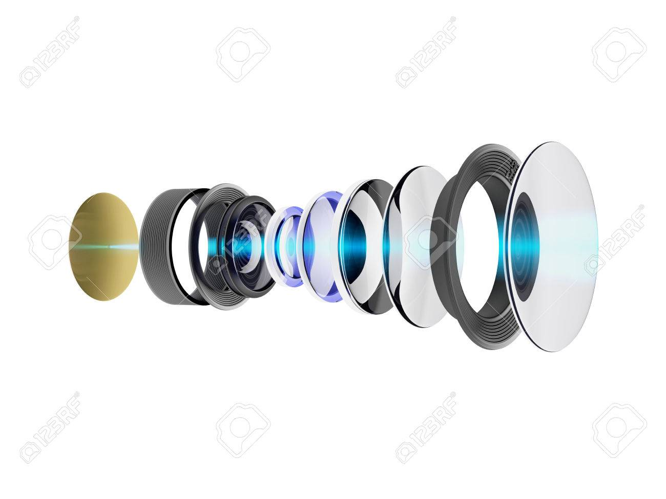 Technical 3D illustration of modern lens for smartphone or camera. An internal circuit of the device isolated on white background. - 69682273