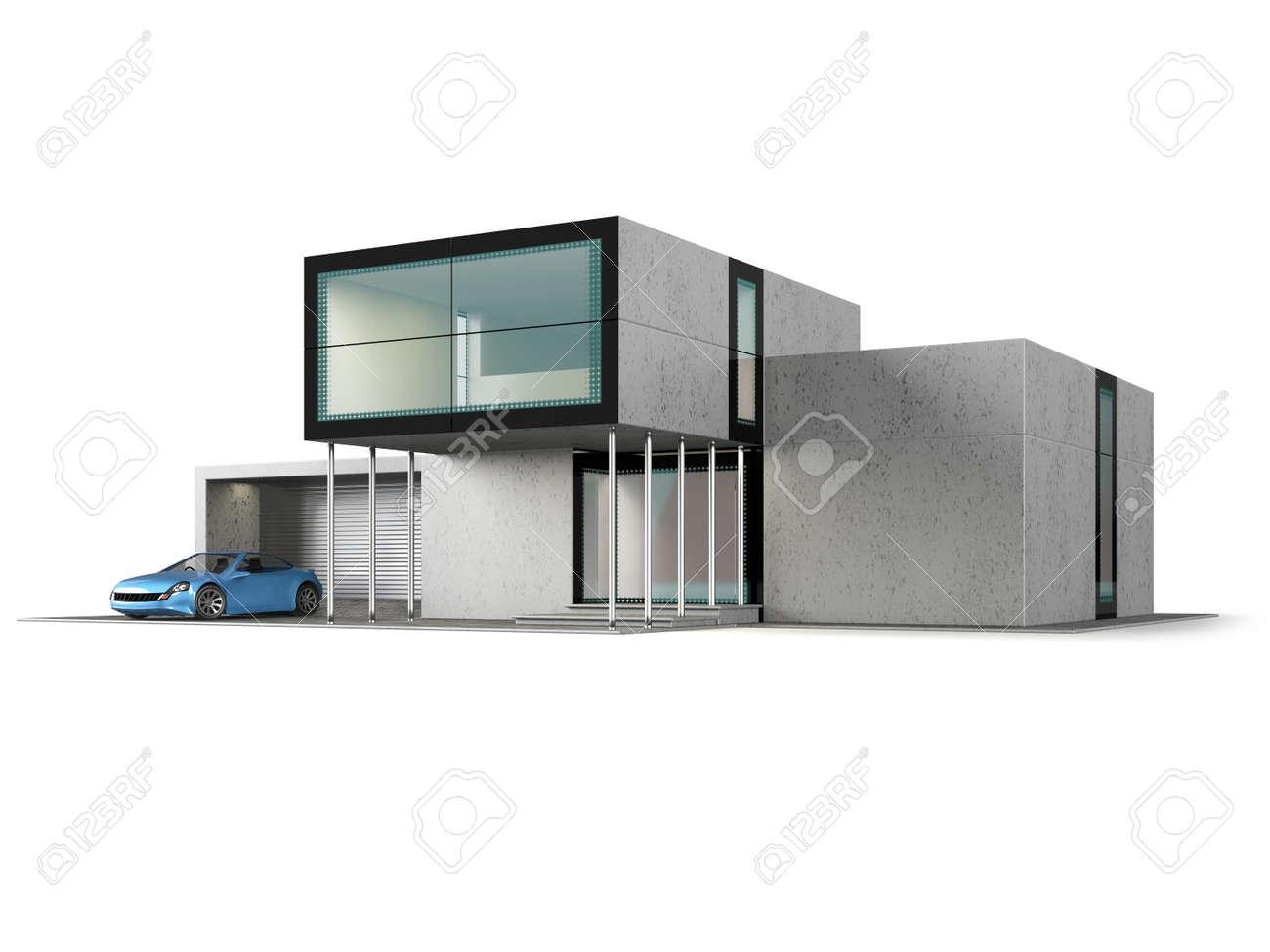 Concept eigentijds huis met garage moderne bouw van glas en beton
