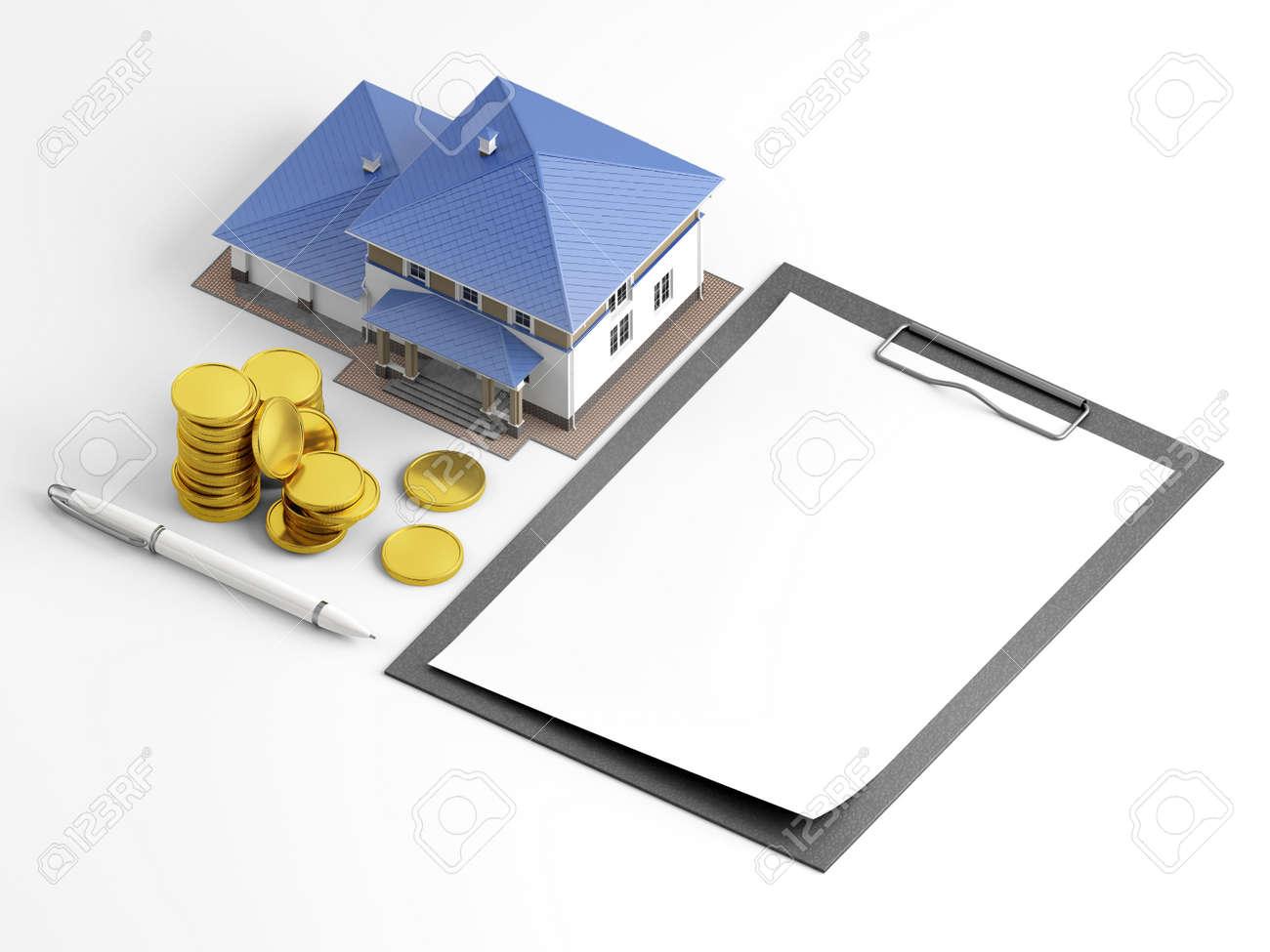 Leere Vorlage Für Hypotheken-Antragsformular Mit Skala Modell Haus ...