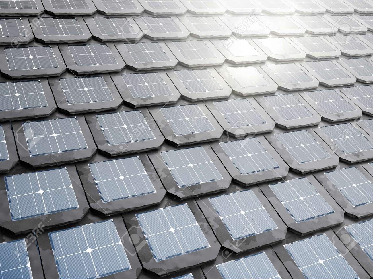 Solar Panel Roof Shingles >> Stock Illustration