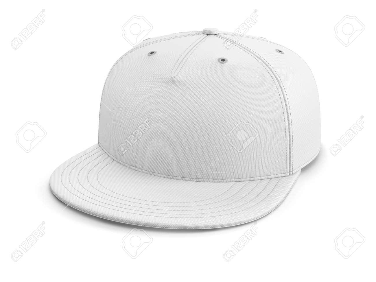 Foto de archivo - Gorra de béisbol vacía blanca o snapback aislado en el  fondo blanco. Ilustración 3D. c5eb5f41fd9
