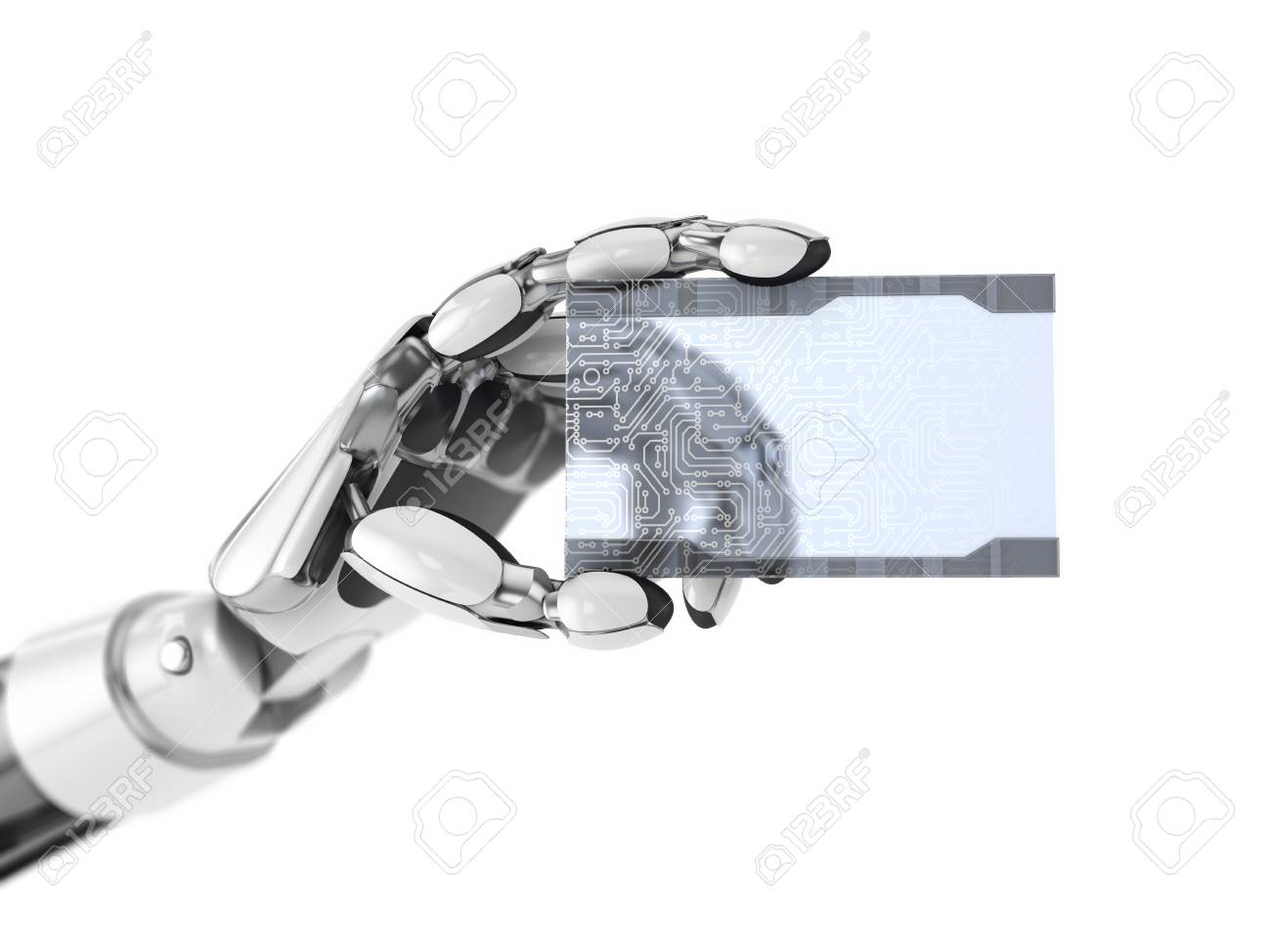 Robotics Arm Gives A Empty Digital Business Card Artificial Stock