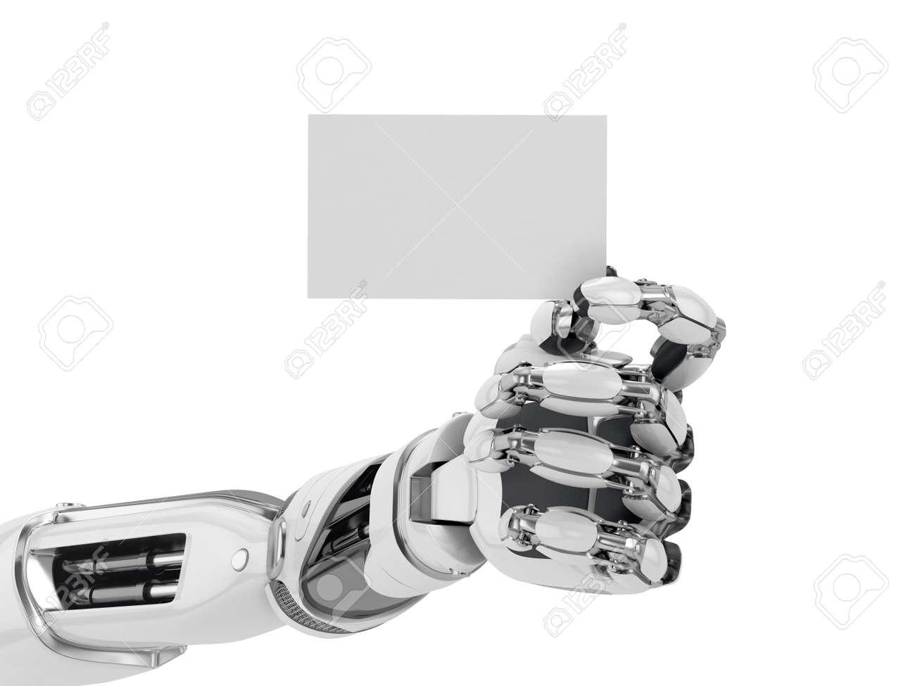 Robotics Hand Hold Blank Business Card Futuristic Technology