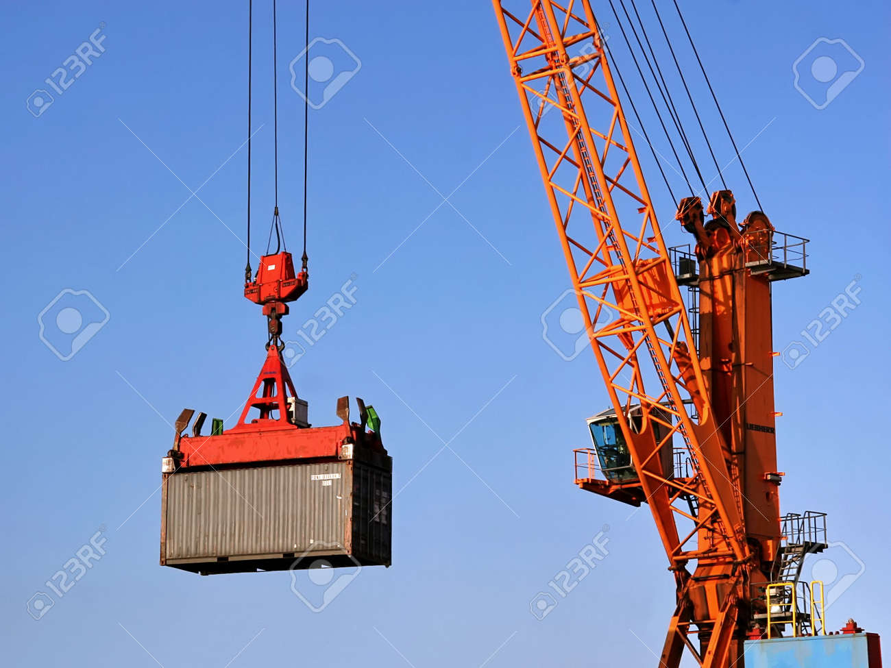 Container being lifted by a crane Stock Photo - 4958086