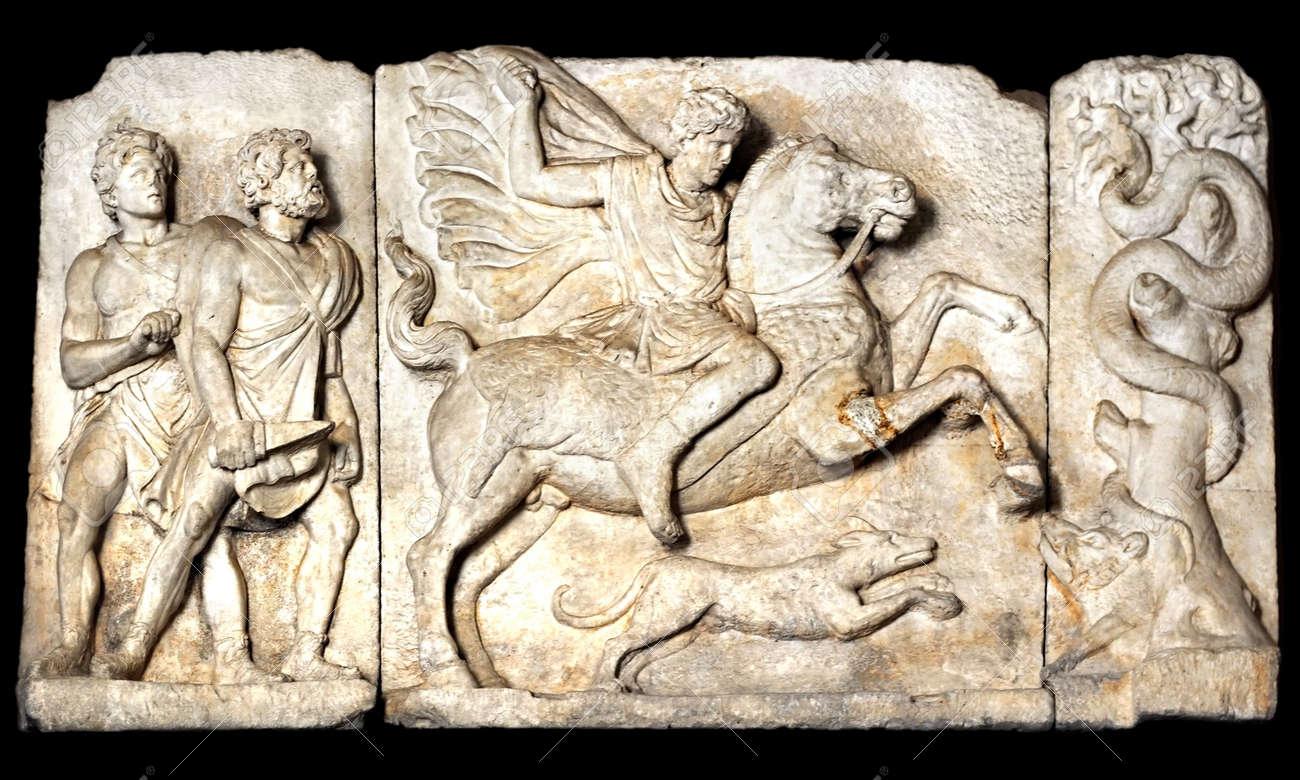 Boar hunt scene, Ancient Roman sculpture, Stock Photo - 7040147