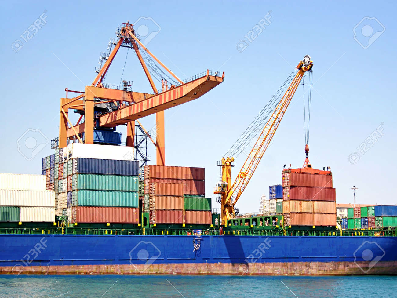 Stack of freight containers on ship deck Stock Photo - 7174455