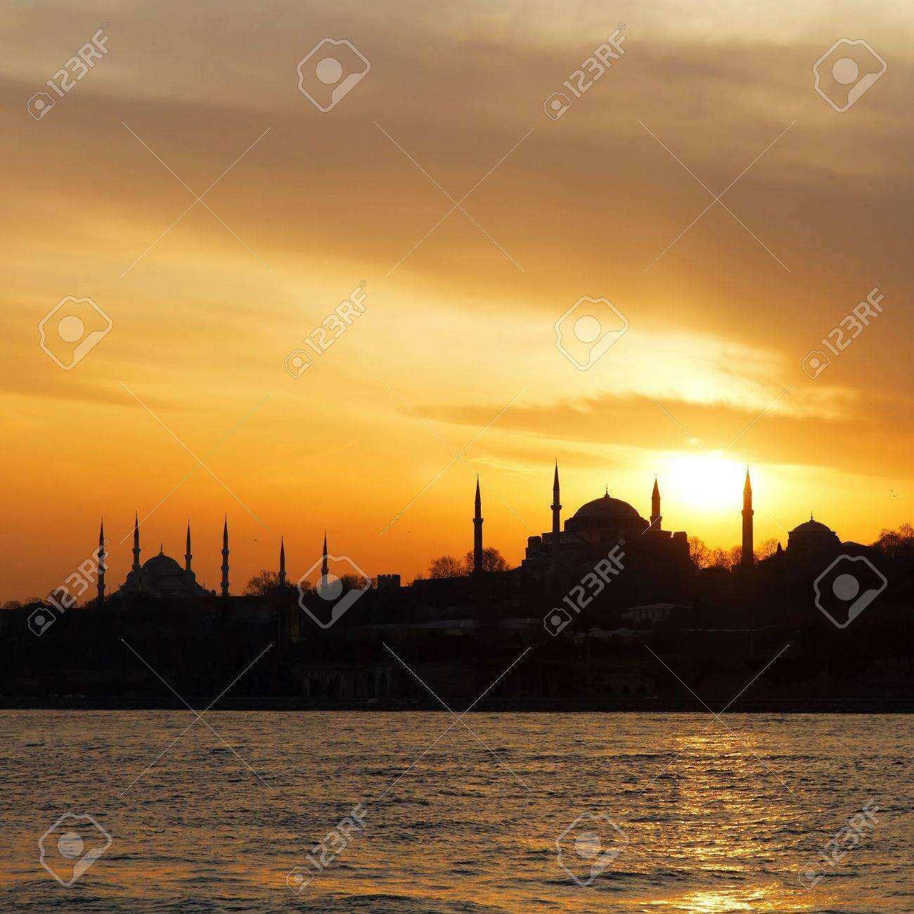 Hagia Sophia and Blue Mosque on sunset in Istanbul - 9256847