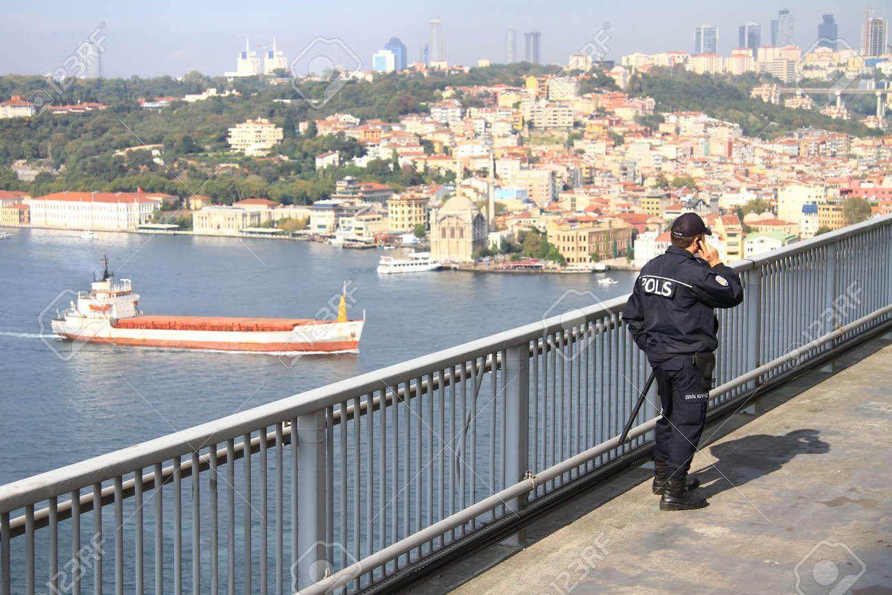 ISTANBUL - OCTOBER 17: Thousands of people in 32nd Intercontinental Eurasia Marathon run make their way through Bosporus suspended bridge on October 17, 2010 in Istanbul, Turkey.  Stock Photo - 9371737