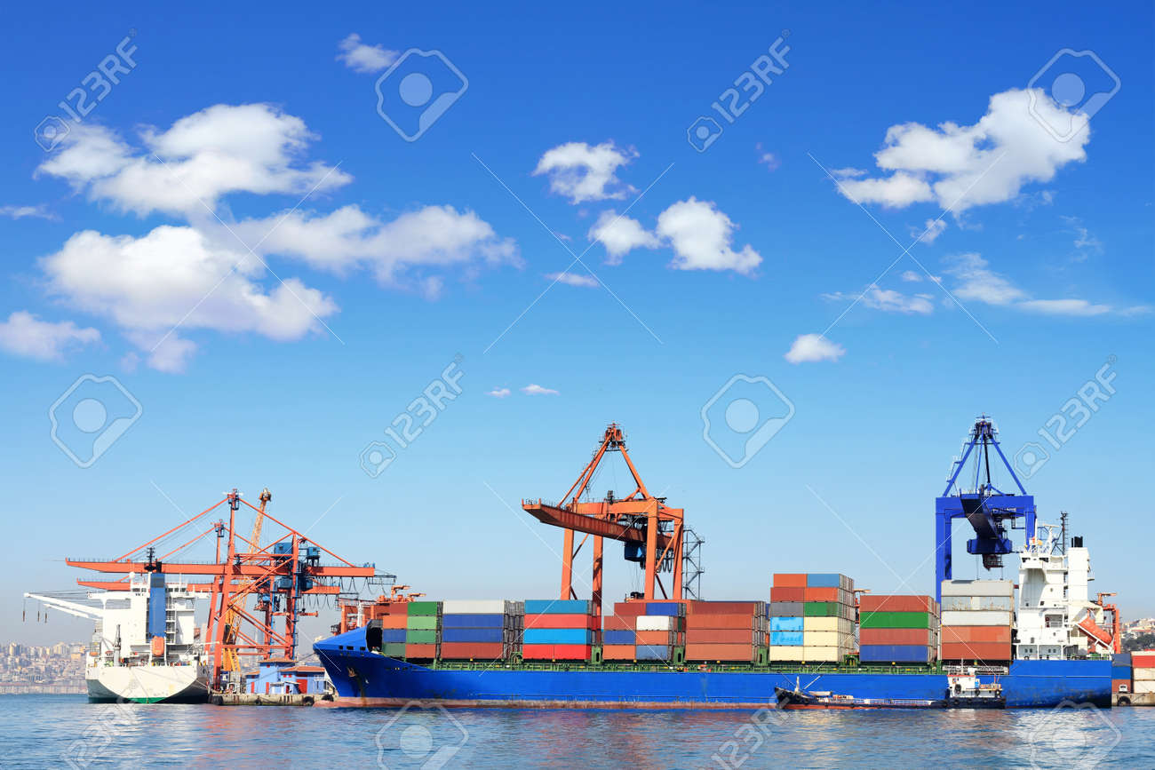 Cargo ship, containers and cranes in sea port - 12745110