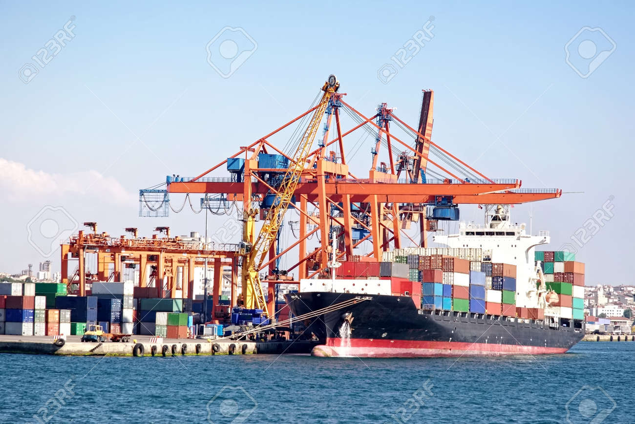 Busy industrial shipping terminal - 12745236