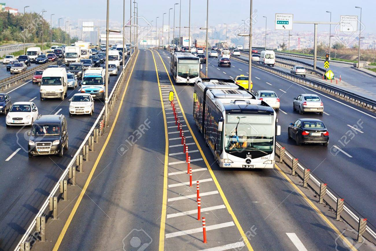 ISTANBUL - NOVEMBER 2: Trans-European Motorway on November 2, 2009 in Istanbul. Express Metrobus Line planed as a solution to transport problem in city with a daily capacity of 800,000 passengers/day. - 14515685