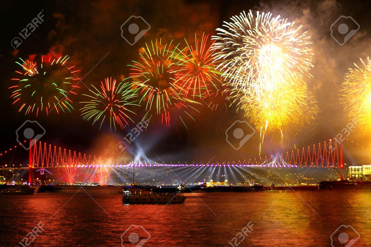 Fireworks over the Istanbul City View of Bosporus Bridge - 16261158