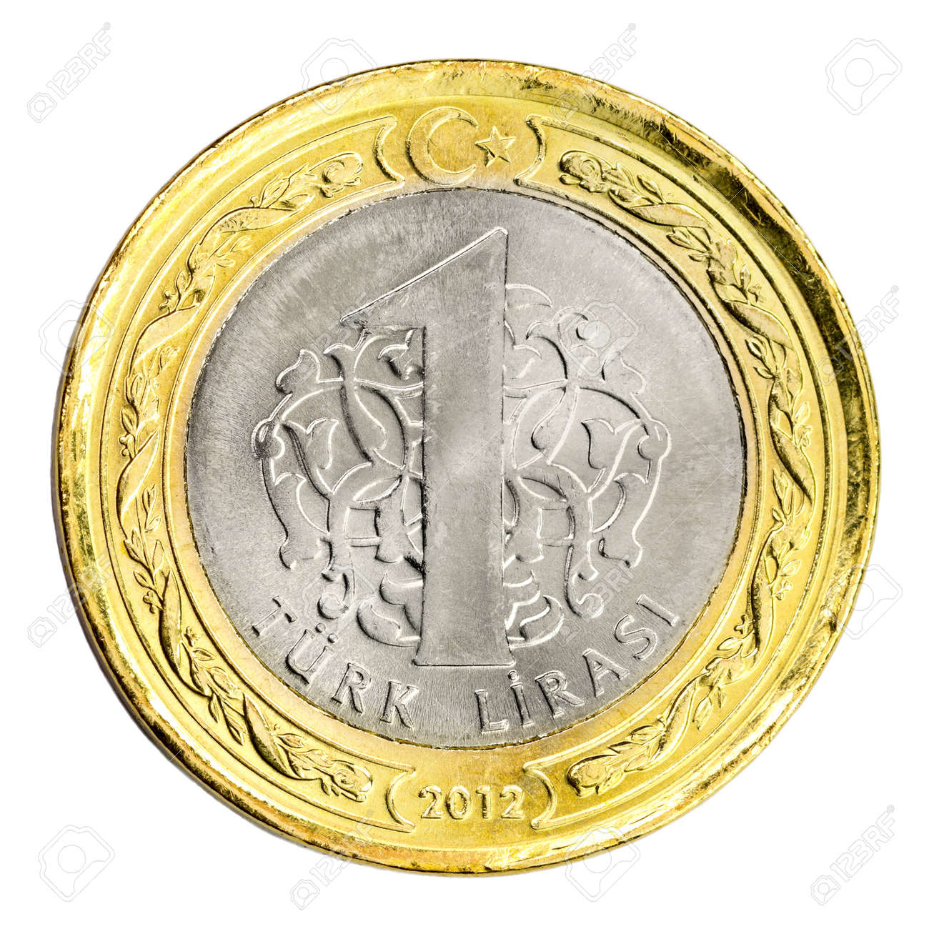 One Turkish Lira coin (front) Isolated on white background - 16989396