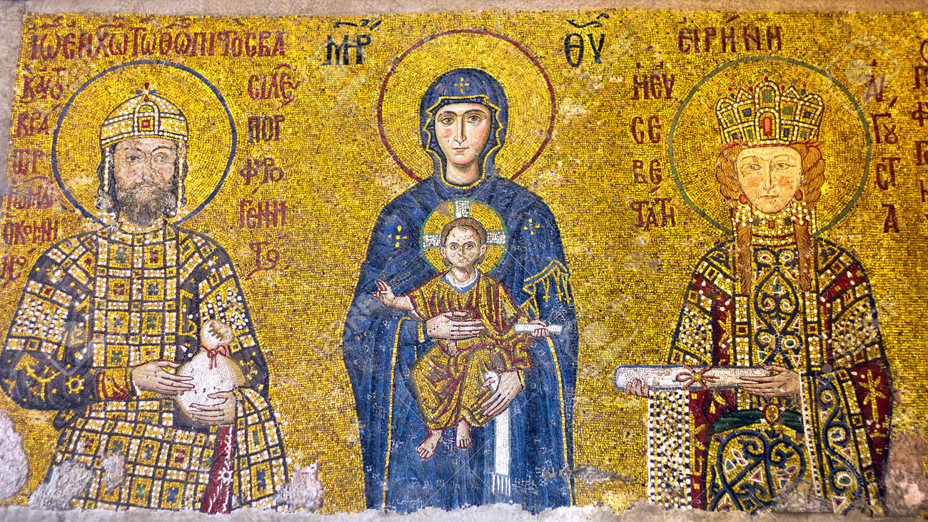 Virgin Mary Holding The Christ Child Byzantine Mosaic Art Interior ...