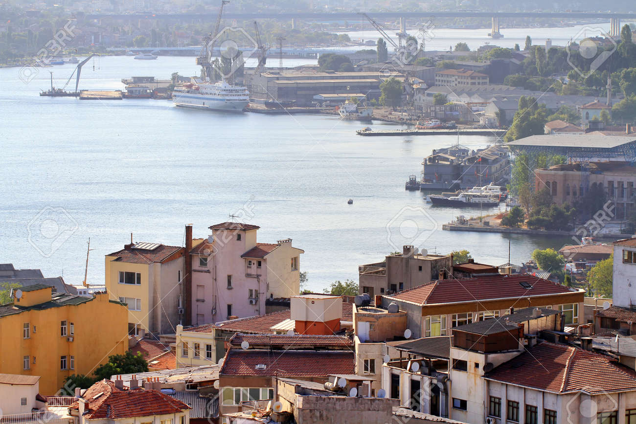 Halic shipyard area  Historic dockyard along Goldenhorn used to renovation of ships owned by city lines  It founded in 1861 by the Ottoman Maritime Company and used to repair and maintain the empire Stock Photo - 23637834