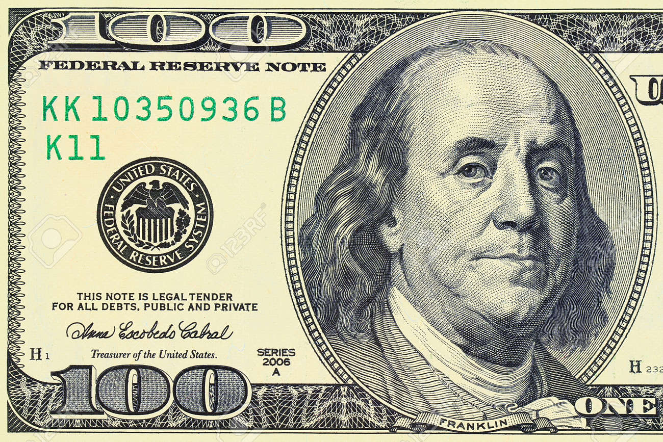 Macro Shot Of A 100 Dollar Benjamin Franklin As Depicted On