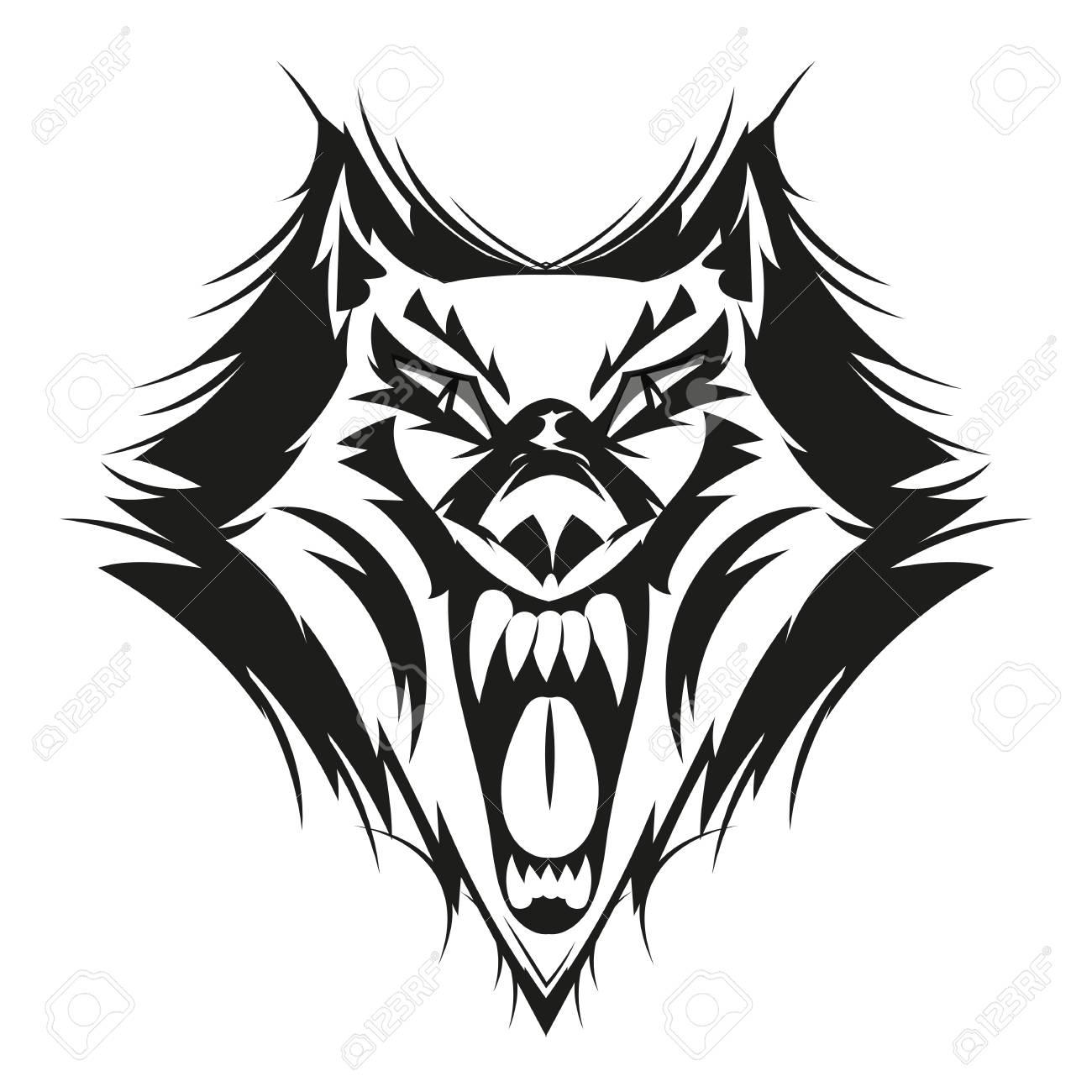 Fierce wolf face digital drawing vector illustration art stock vector 88315926