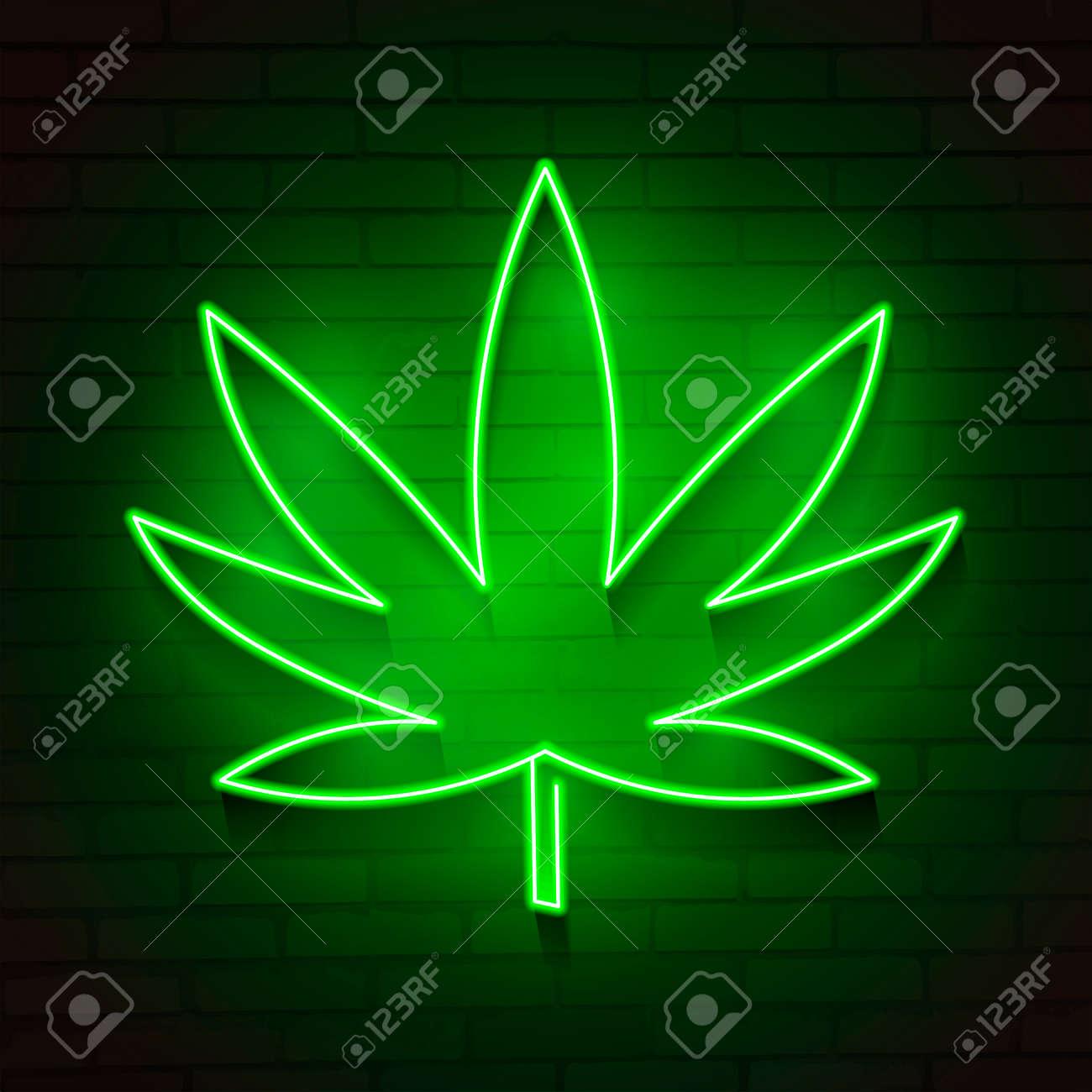 Medical Cannabis Logo With Marijuana Leaf Glowing Neon Light