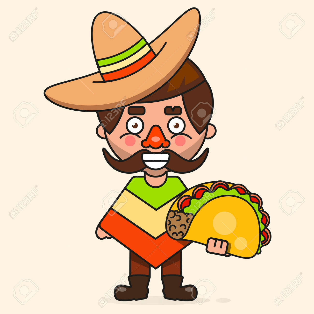 Retro Hot Mexican Icon   Fast Food  Vector Background  Organic