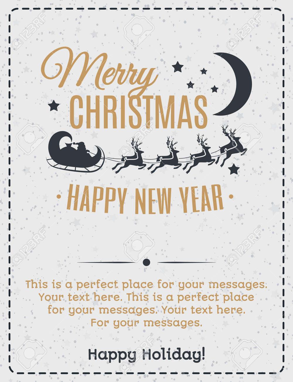 Weihnachtsgrußkarte Goldfarbe Mit Vintage-Label Aus Weihnachtsmann ...