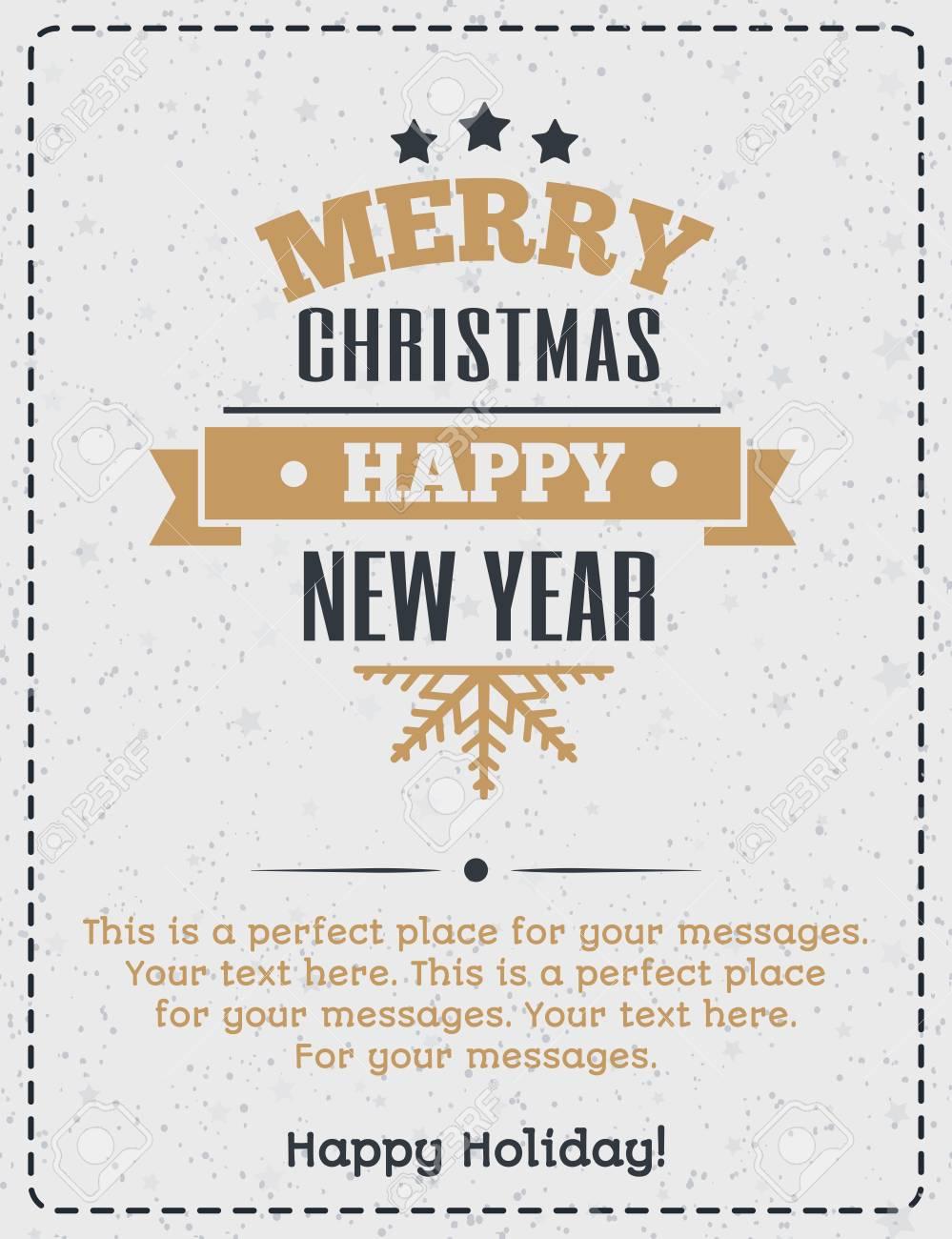 Weihnachtsgrußkarte Goldfarbe Stil Mit Vintage-Weihnachten Label Und ...