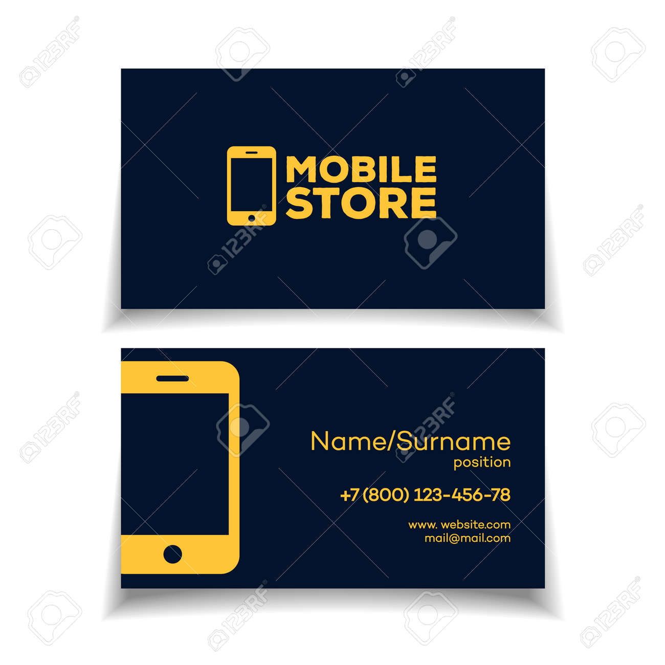 Mobile Store Business Card Design Template With Smartphone Logo