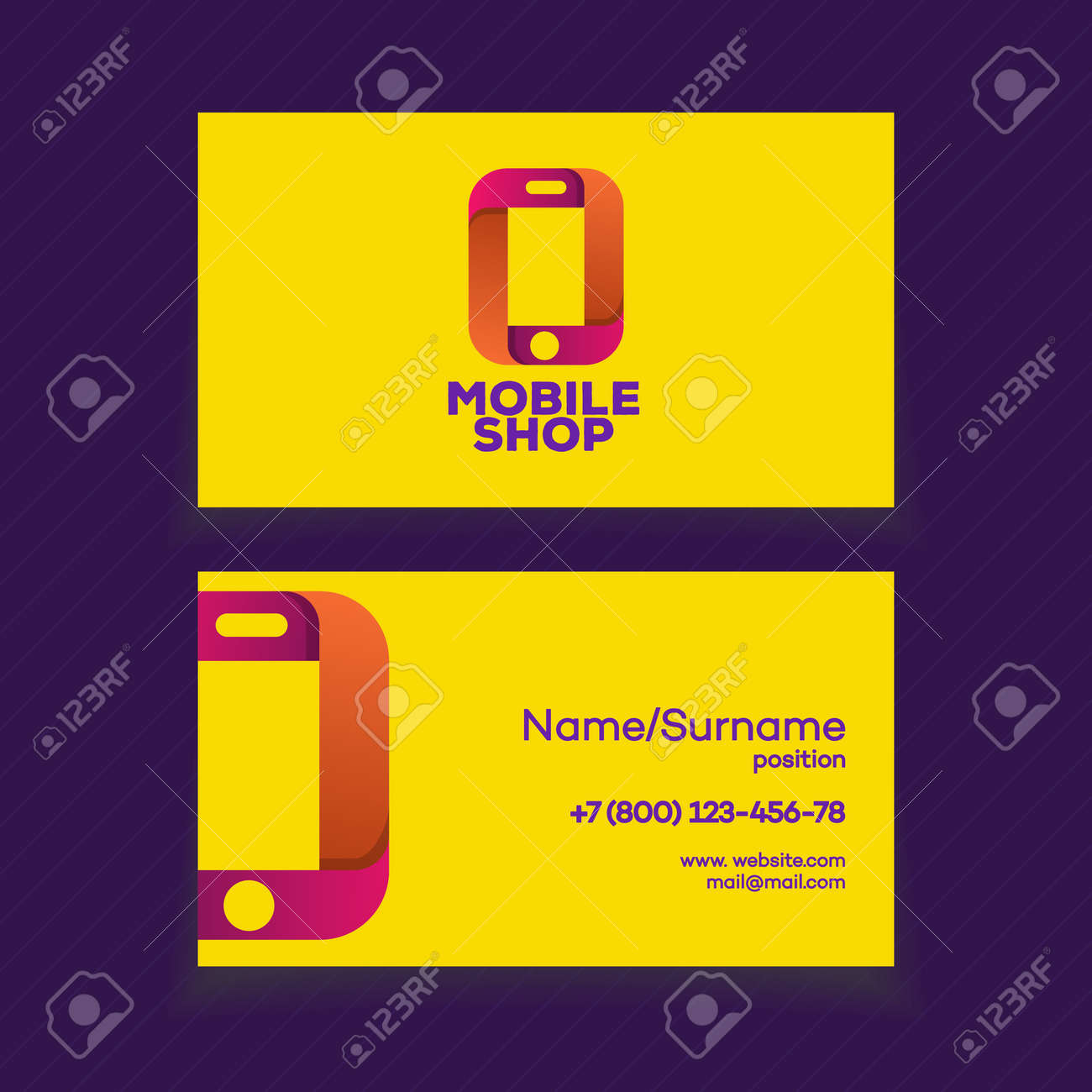 Mobile Shop Business Card Design Template With Phone Logo On.. Stock ...