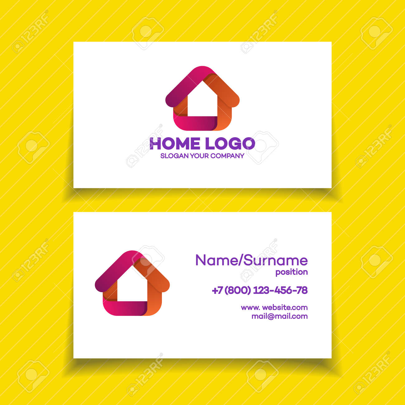 Business Card Design Template With Home Logo On White Background For Used Corporate Identity Smart