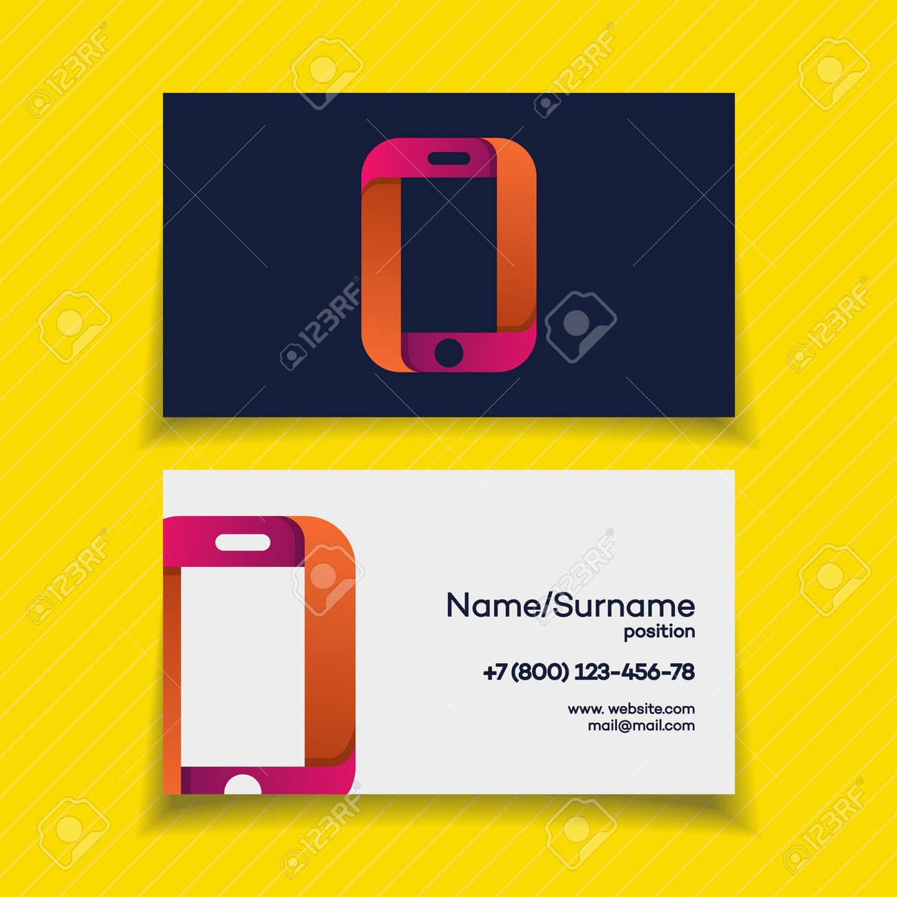 Business card design template with phone logo on yellow background business card design template with phone logo on yellow background use for mobile store mobile accmission Gallery