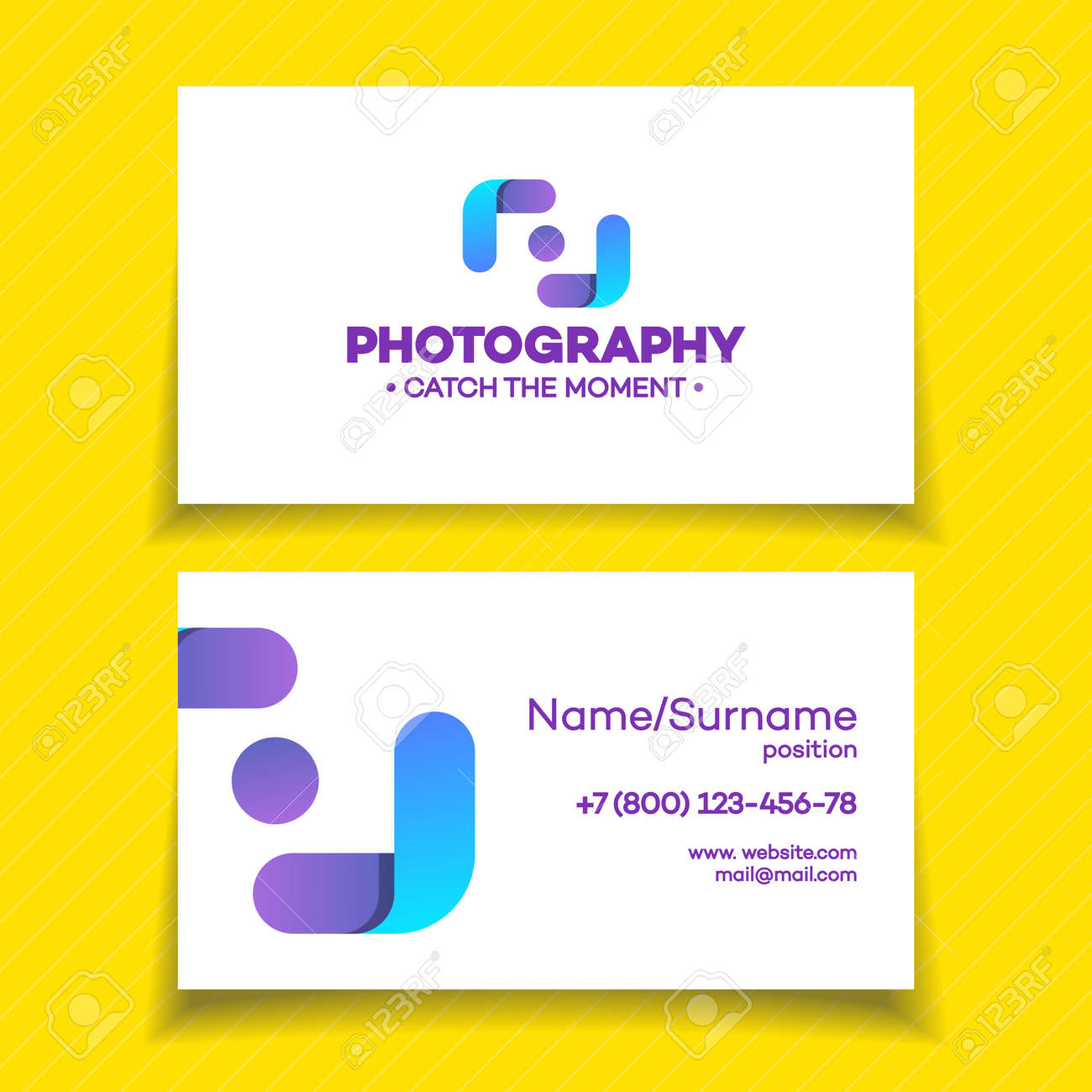 Business Card With Photography Logo On White Background Used