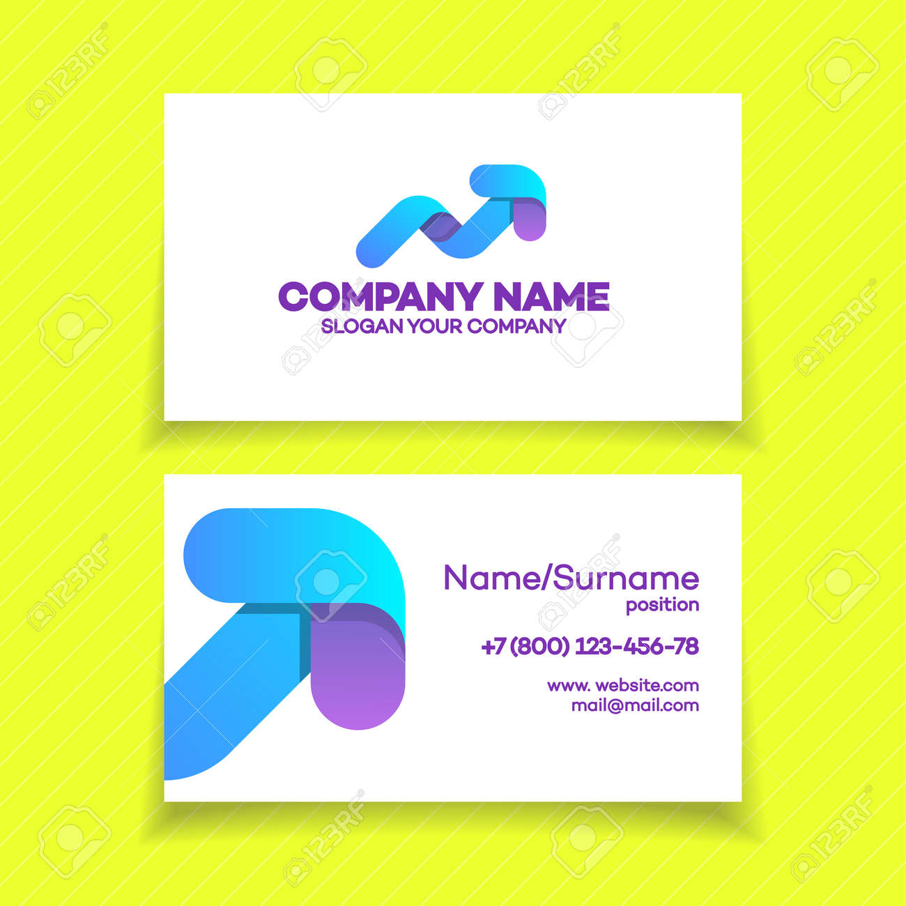 Business Card With Progress Logo And Arrow Up For Growing Success