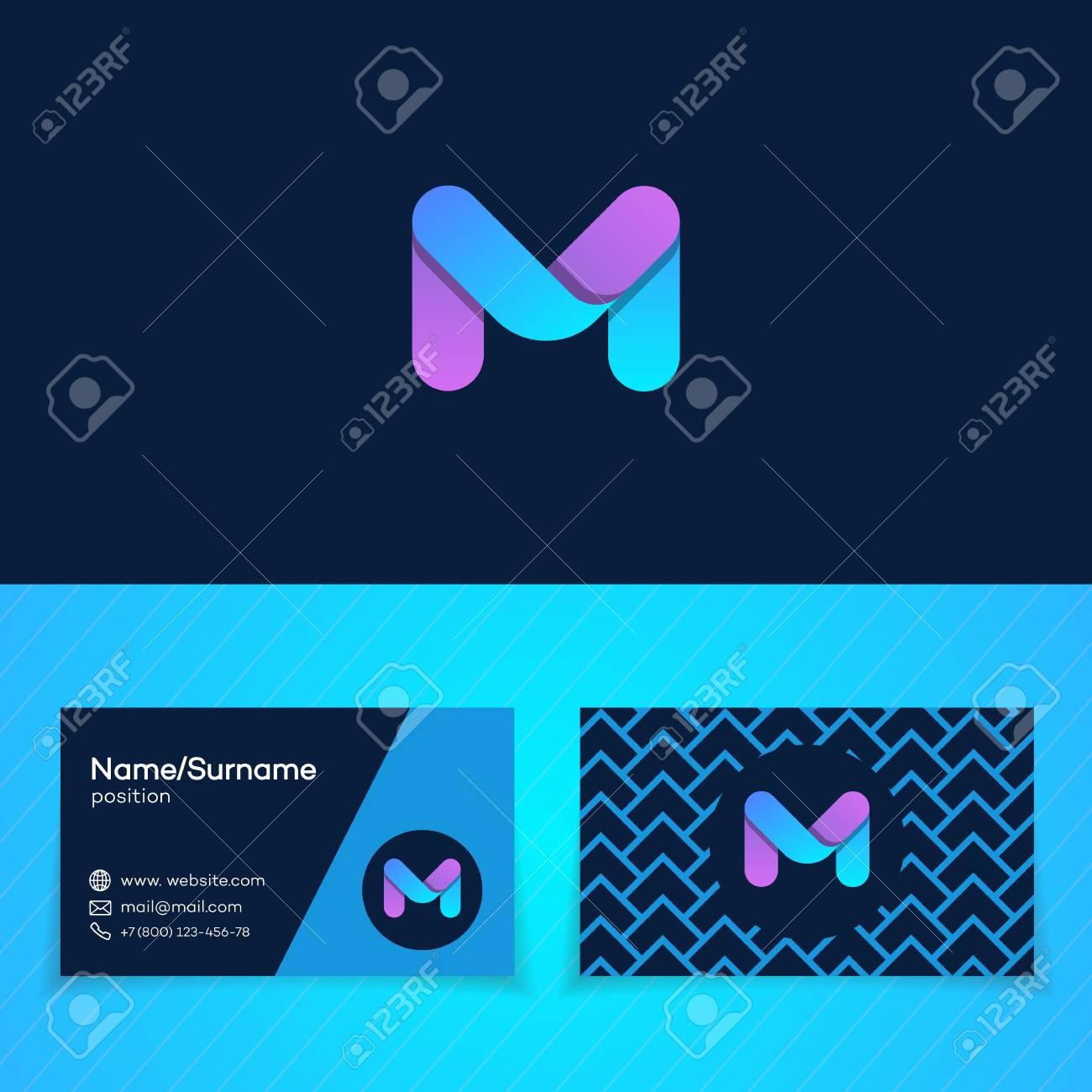 Carte De Visite Modle Conception Avec M Lettre Logo Style Moderne Sur Fond Noir Parfait Pour Le Marketing Studio Musique