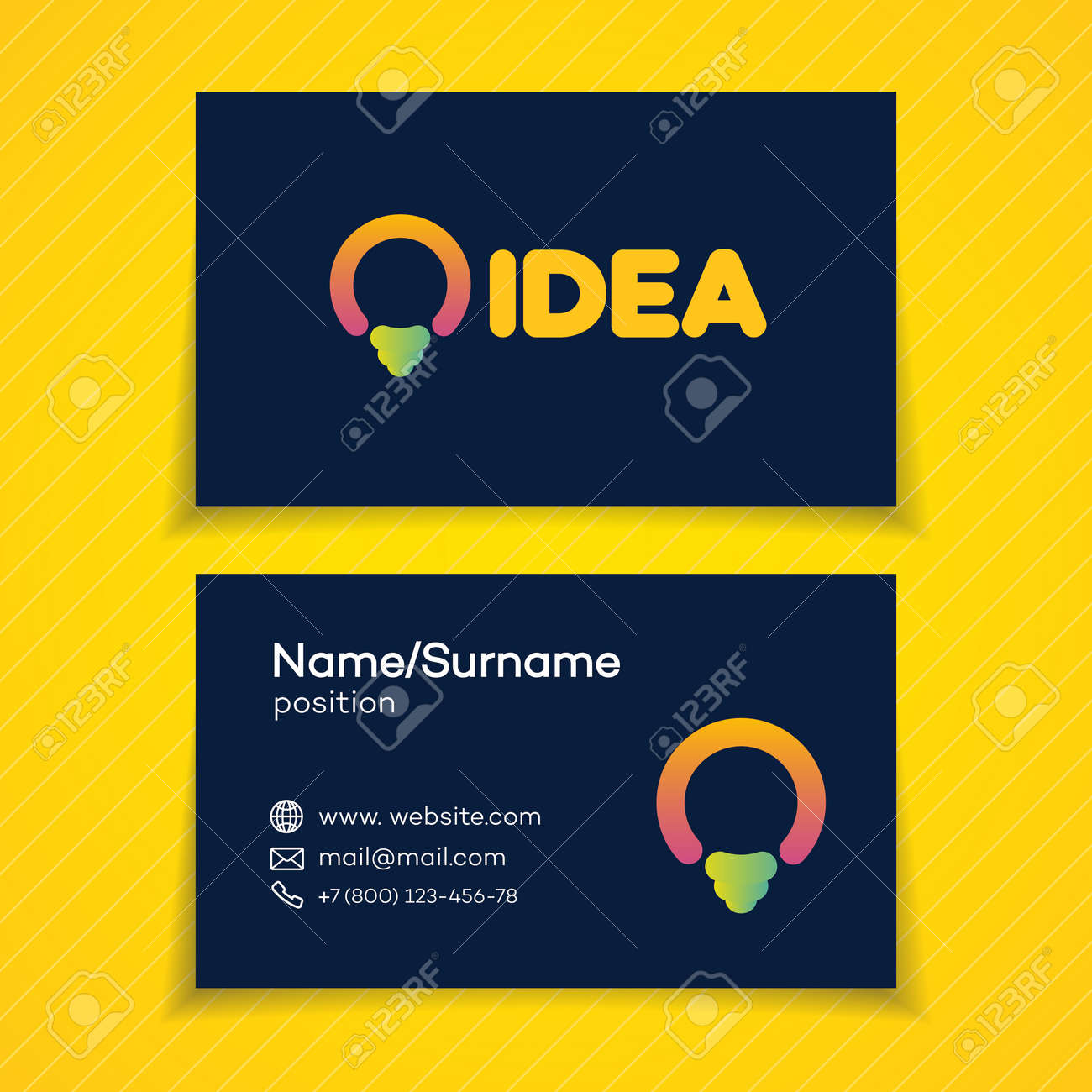 Business Card With Idea With Light Bulb For Smart Solution, Creative ...