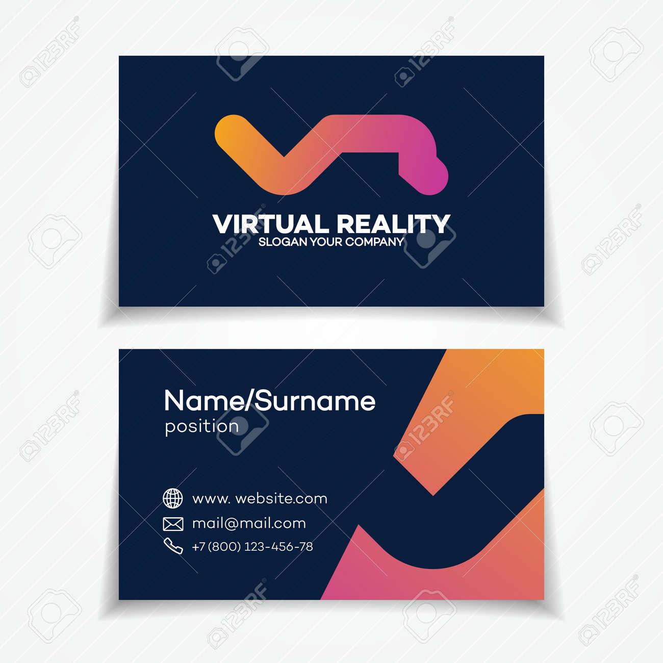 Carte De Visite Avec VR Compose V Et R Lettre Simple Style