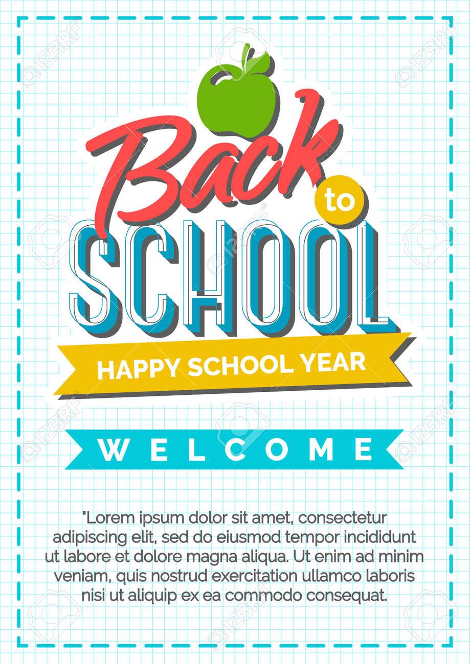 Zurück Zu Schule-Karte Mit Farbbezeichnung Bestehend Aus Apfel Und ...