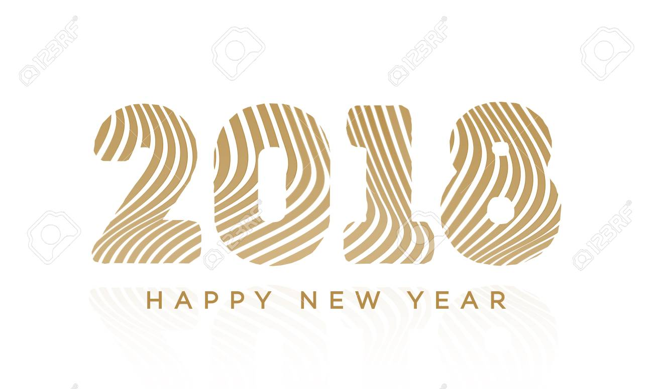 Christmas Greeting Card With Sign 2018 And Happy New Year Gold ...