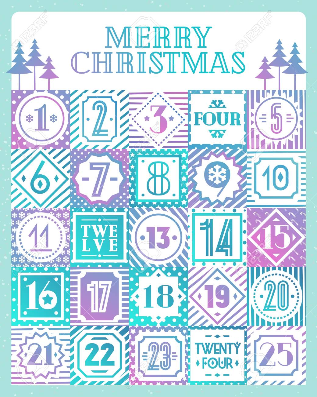 Christmas Countdown Calendar.Christmas Countdown Calendar Printable Tags Color Style With