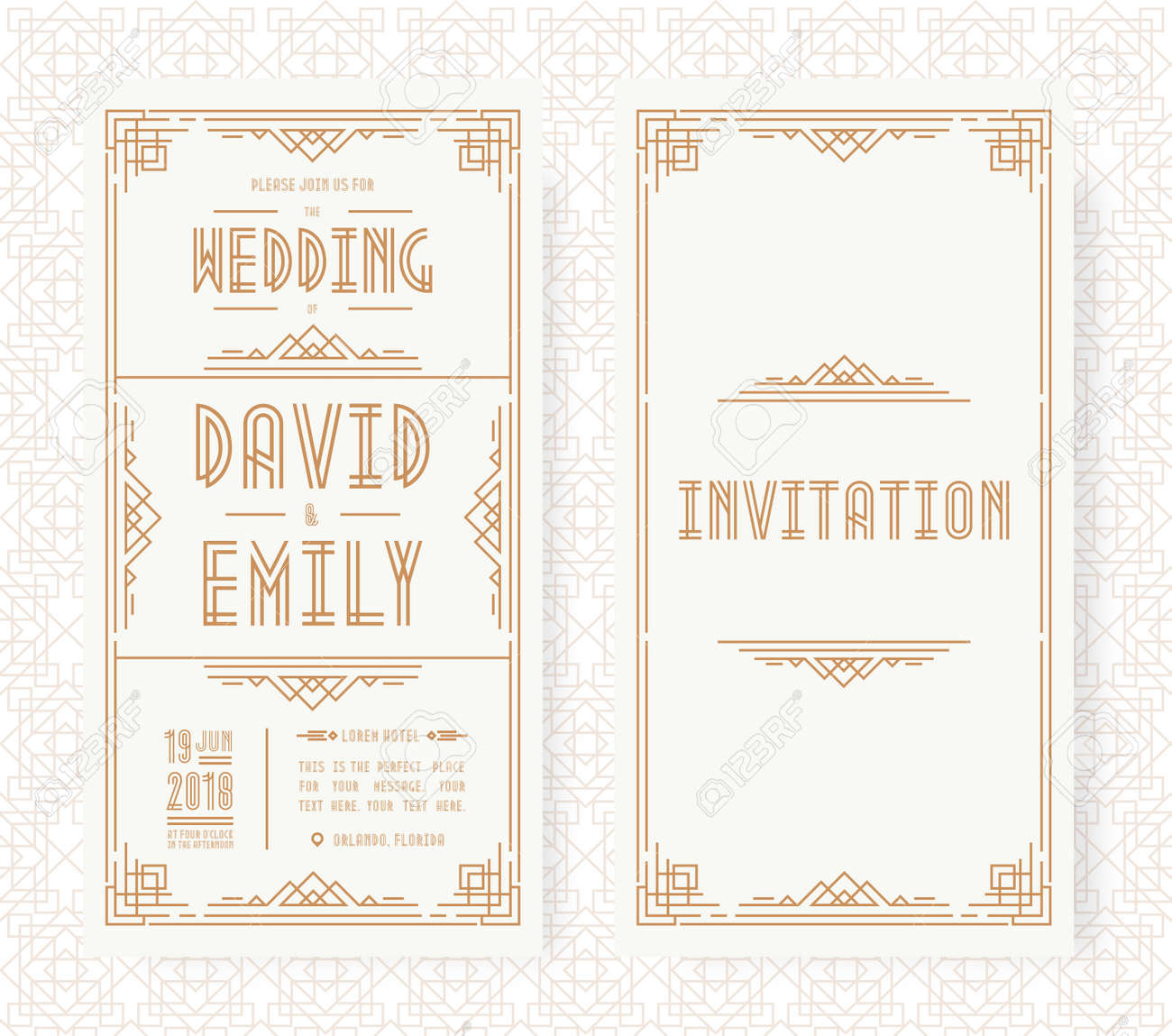 Wedding Invitation Card Set Art Deco Style Gold Color On White
