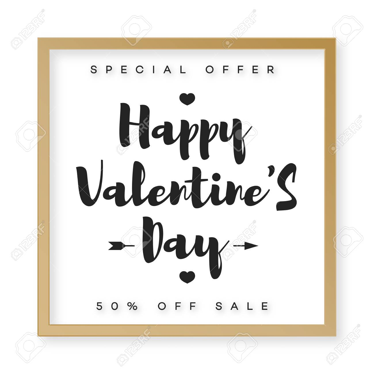 Happy Valentines Banner Sale With Frame Gold Style And Typography