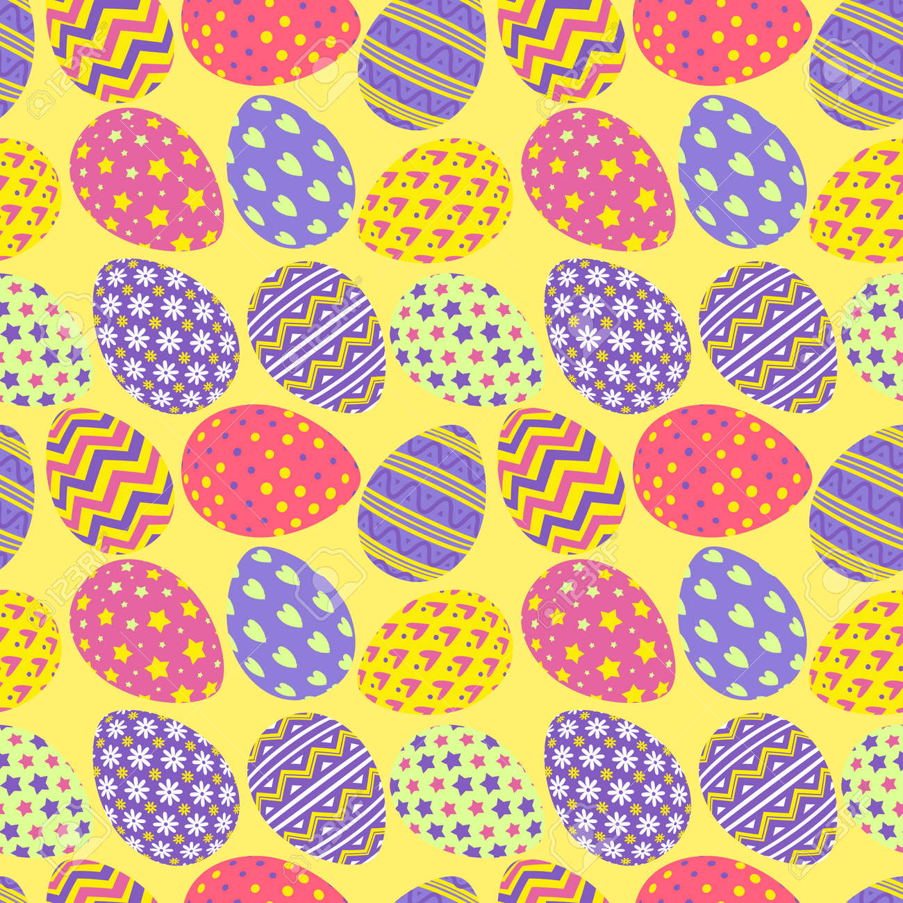 Happy Easter Eggs Pattern Colorful Style With Different Pattern