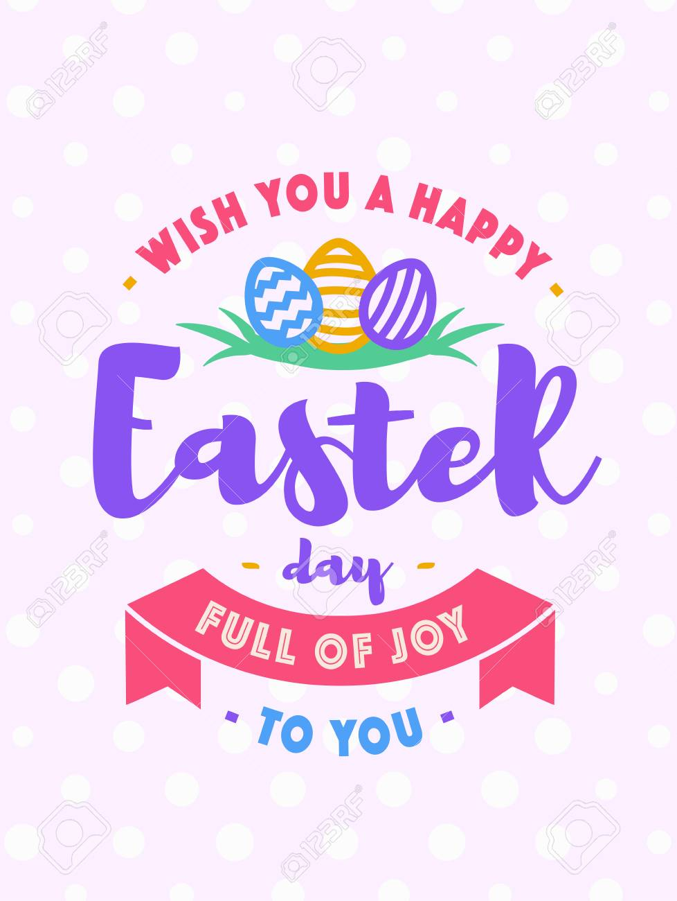 Easter Greeting Card With Wish You A Happy Easter Day Full Of Joy ...