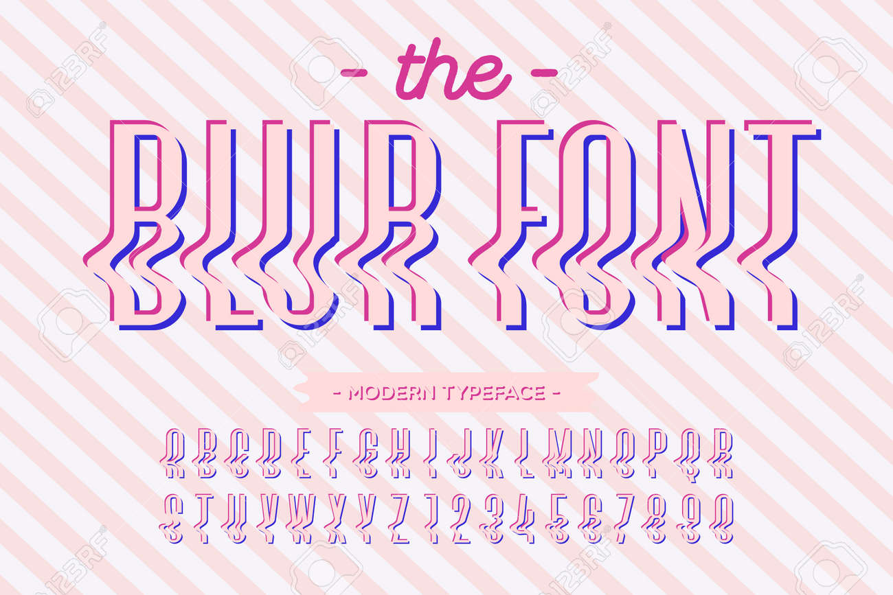 Vector Glitch Style Font Modern Typography Alphabet Colorful