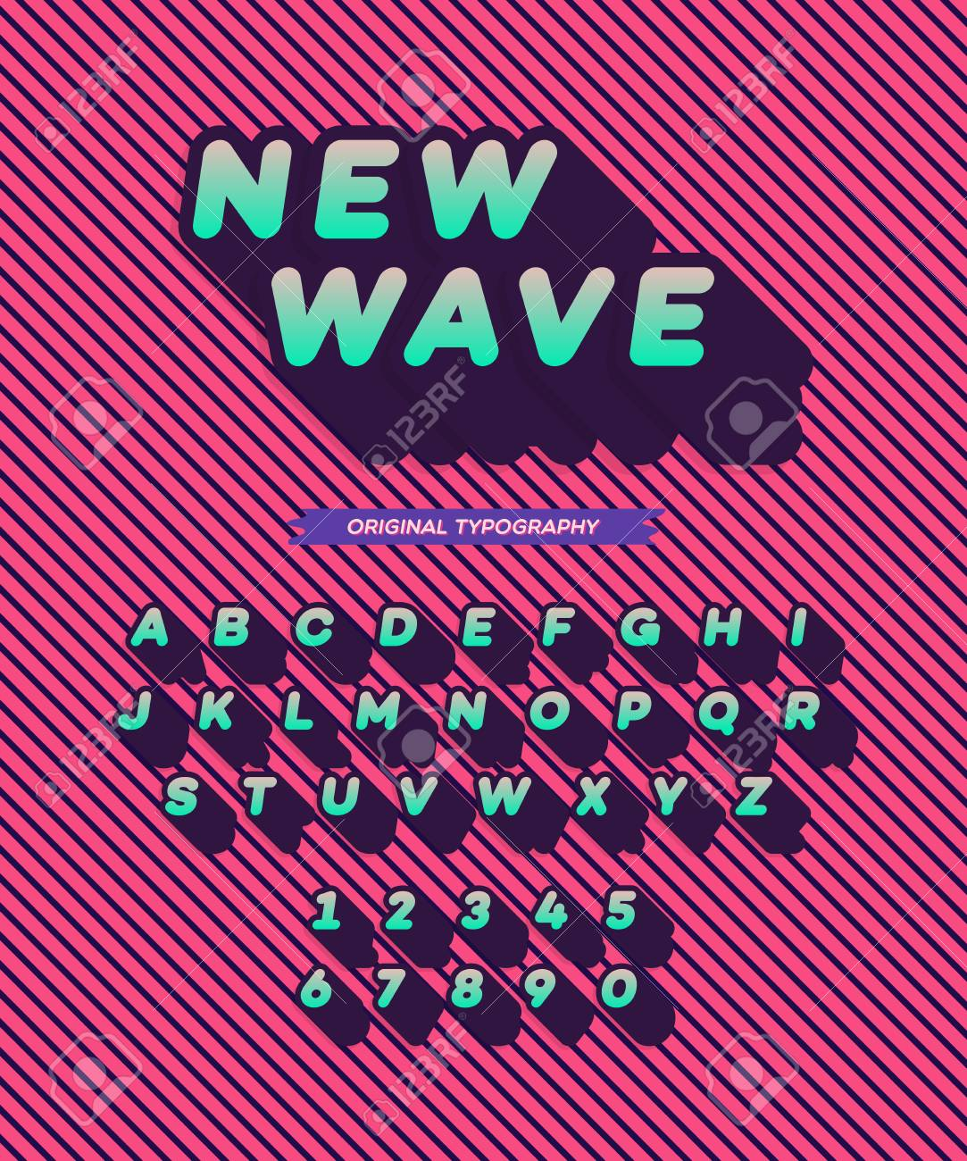 Vector New Wave Font Long Shadow Style Modern Typography Alphabet