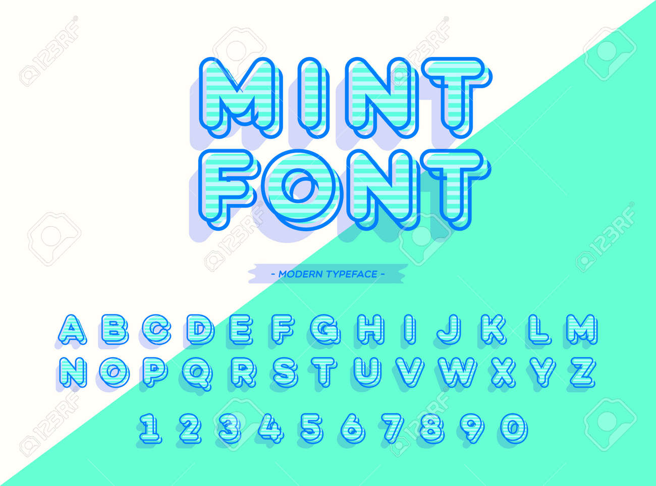 Vector Mint Font 3d Style Modern Typography Alphabet For Logo Emblem Party Poster